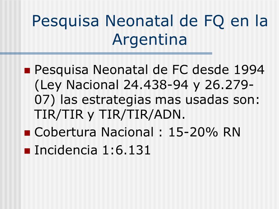 F-508 - 57 % G542X - 3,94% W1282X - 3,07% N1303K - 1,75% 1717 1G A - 0,87% R553X - 0,43% R1162X - 0,43% Frecuencias en Argentina