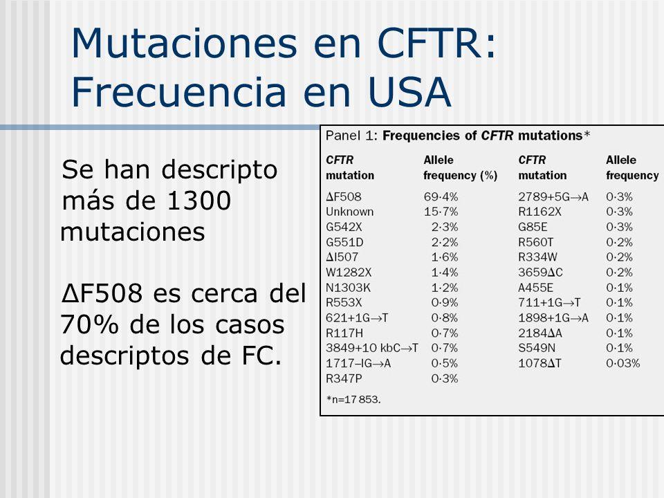 Mutaciones en CFTR: Frecuencia en USA Se han descripto más de 1300 mutaciones ΔF508 es cerca del 70% de los casos descriptos de FC.