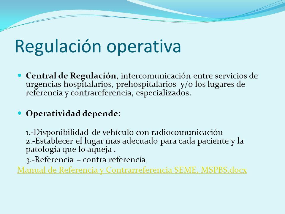 Regulación operativa Central de Regulación, intercomunicación entre servicios de urgencias hospitalarios, prehospitalarios y/o los lugares de referenc