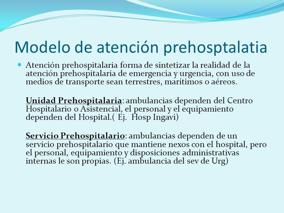Modelo de atención prehosptalatia Atención prehospitalaria forma de sintetizar la realidad de la atención prehospitalaria de emergencia y urgencia, co
