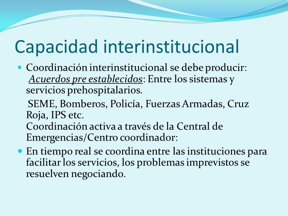 Capacidad interinstitucional Coordinación interinstitucional se debe producir: Acuerdos pre establecidos: Entre los sistemas y servicios prehospitalar