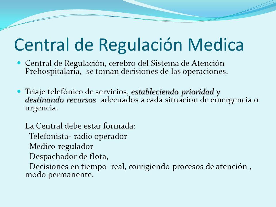 Central de Regulación Medica Central de Regulación, cerebro del Sistema de Atención Prehospitalaria, se toman decisiones de las operaciones. estableci