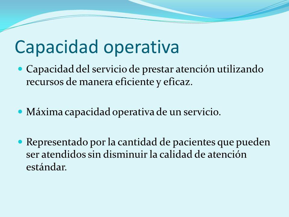 Capacidad operativa Capacidad del servicio de prestar atención utilizando recursos de manera eficiente y eficaz. Máxima capacidad operativa de un serv