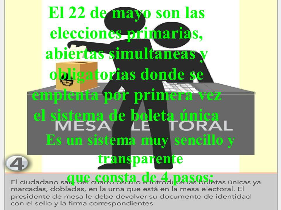 Es un sistema muy sencillo y transparente que consta de 4 pasos: El 22 de mayo son las elecciones primarias, abiertas simultaneas y obligatorias donde se emplenta por primera vez el sistema de boleta única