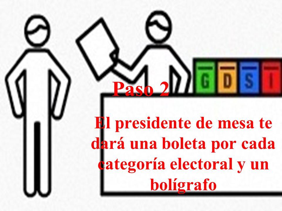 Paso 2 El presidente de mesa te dará una boleta por cada categoría electoral y un bolígrafo