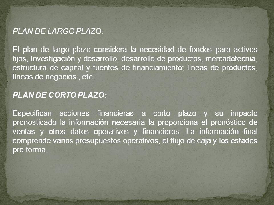 PLAN DE LARGO PLAZO: El plan de largo plazo considera la necesidad de fondos para activos fijos, Investigación y desarrollo, desarrollo de productos,