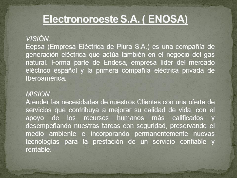 VISIÓN: Eepsa (Empresa Eléctrica de Piura S.A.) es una compañía de generación eléctrica que actúa también en el negocio del gas natural. Forma parte d