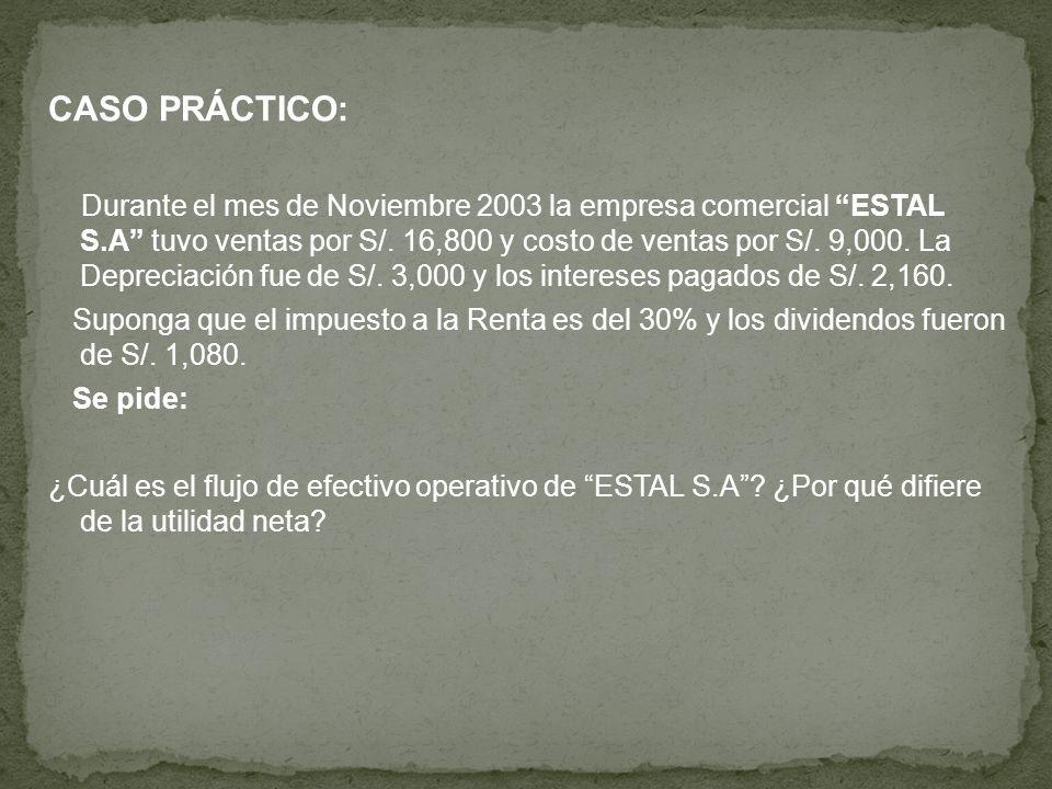 CASO PRÁCTICO: Durante el mes de Noviembre 2003 la empresa comercial ESTAL S.A tuvo ventas por S/. 16,800 y costo de ventas por S/. 9,000. La Deprecia