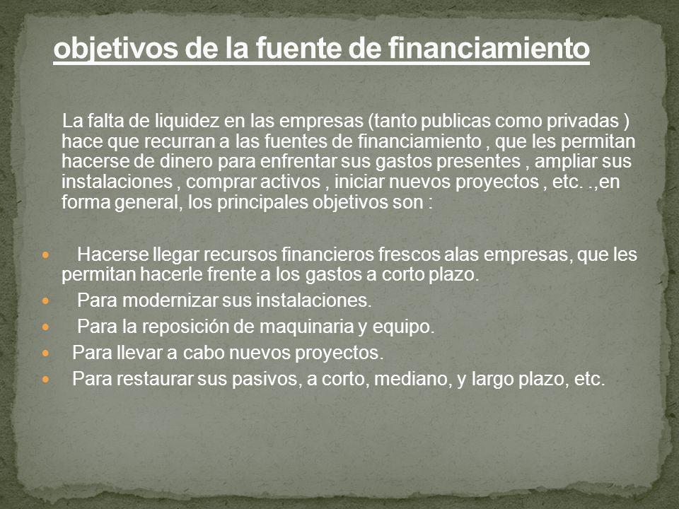 La falta de liquidez en las empresas (tanto publicas como privadas ) hace que recurran a las fuentes de financiamiento, que les permitan hacerse de di