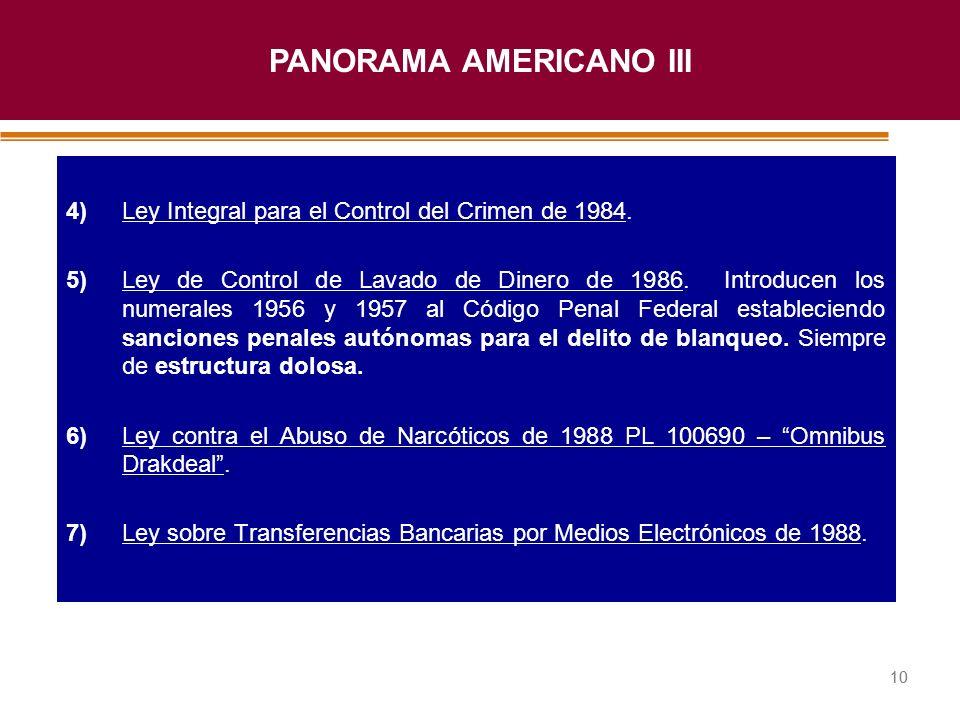 Haga clic para modificar el estilo de título del patrón 10 4)Ley Integral para el Control del Crimen de 1984. 5)Ley de Control de Lavado de Dinero de