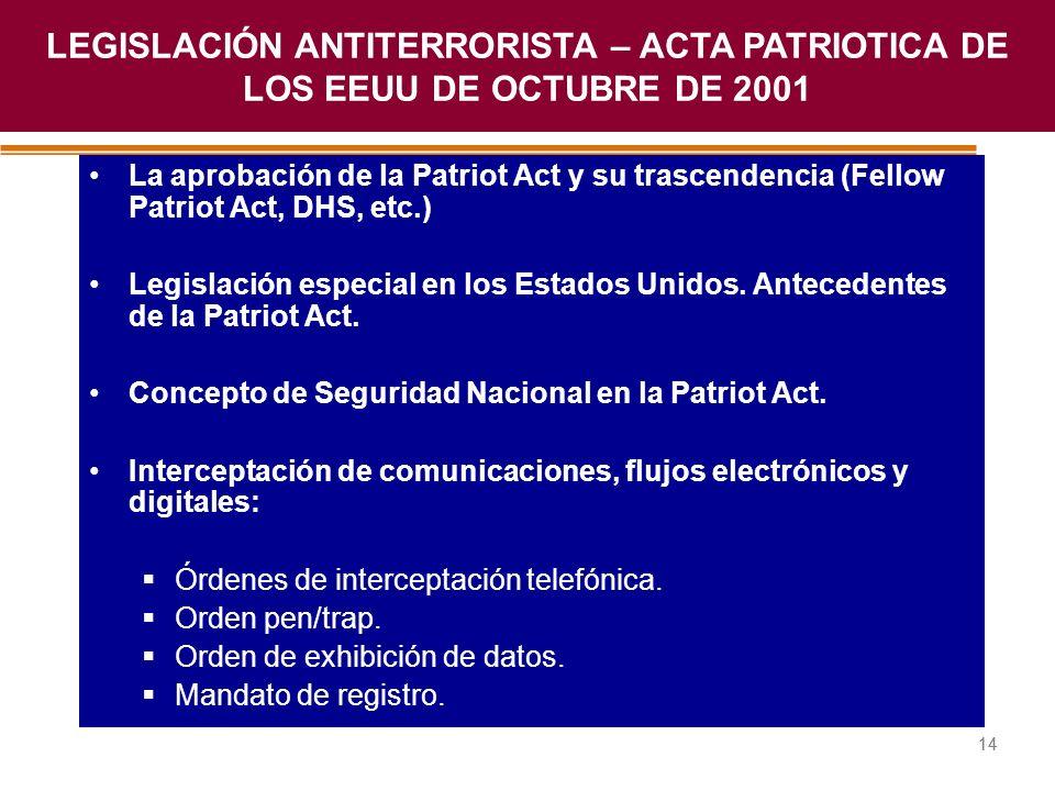 Haga clic para modificar el estilo de título del patrón 14 La aprobación de la Patriot Act y su trascendencia (Fellow Patriot Act, DHS, etc.) Legislac
