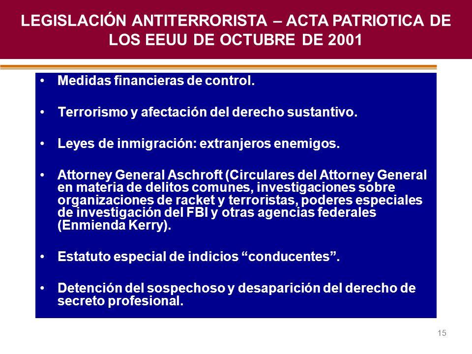 Haga clic para modificar el estilo de título del patrón 15 Medidas financieras de control. Terrorismo y afectación del derecho sustantivo. Leyes de in
