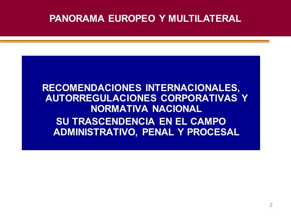 Haga clic para modificar el estilo de título del patrón 22 RECOMENDACIONES INTERNACIONALES, AUTORREGULACIONES CORPORATIVAS Y NORMATIVA NACIONAL SU TRA