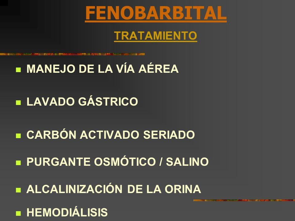 FENOBARBITAL TRATAMIENTO MANEJO DE LA VÍA AÉREA LAVADO GÁSTRICO CARBÓN ACTIVADO SERIADO PURGANTE OSMÓTICO / SALINO ALCALINIZACIÓN DE LA ORINA HEMODIÁL