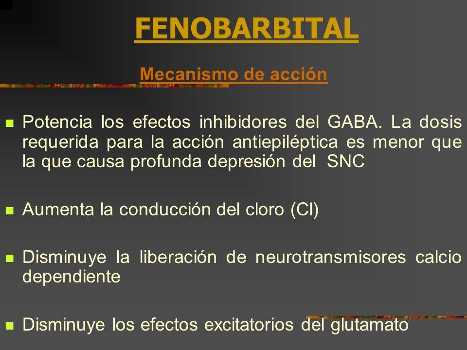 FENOBARBITAL Mecanismo de acción Potencia los efectos inhibidores del GABA. La dosis requerida para la acción antiepiléptica es menor que la que causa