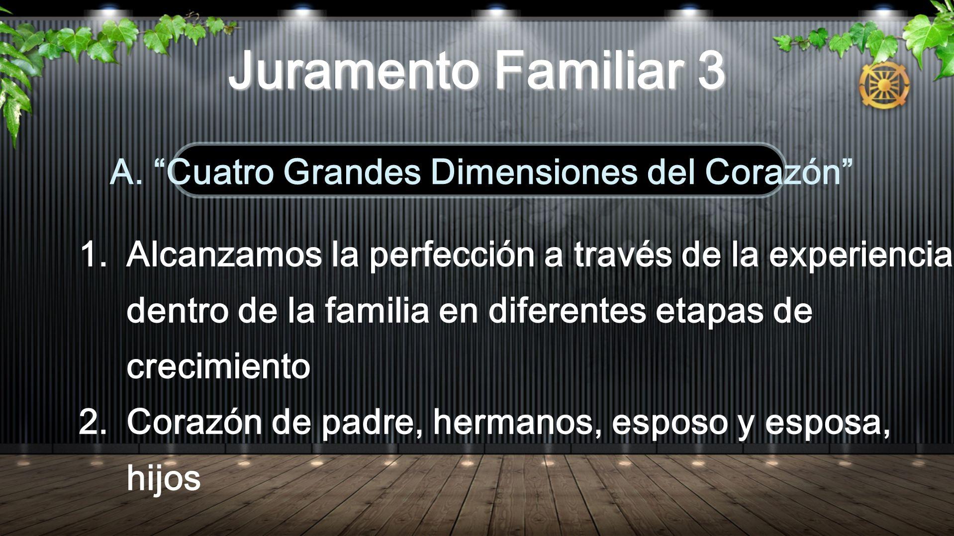 1.Alcanzamos la perfección a través de la experiencia dentro de la familia en diferentes etapas de crecimiento 2.Corazón de padre, hermanos, esposo y esposa, hijos A.