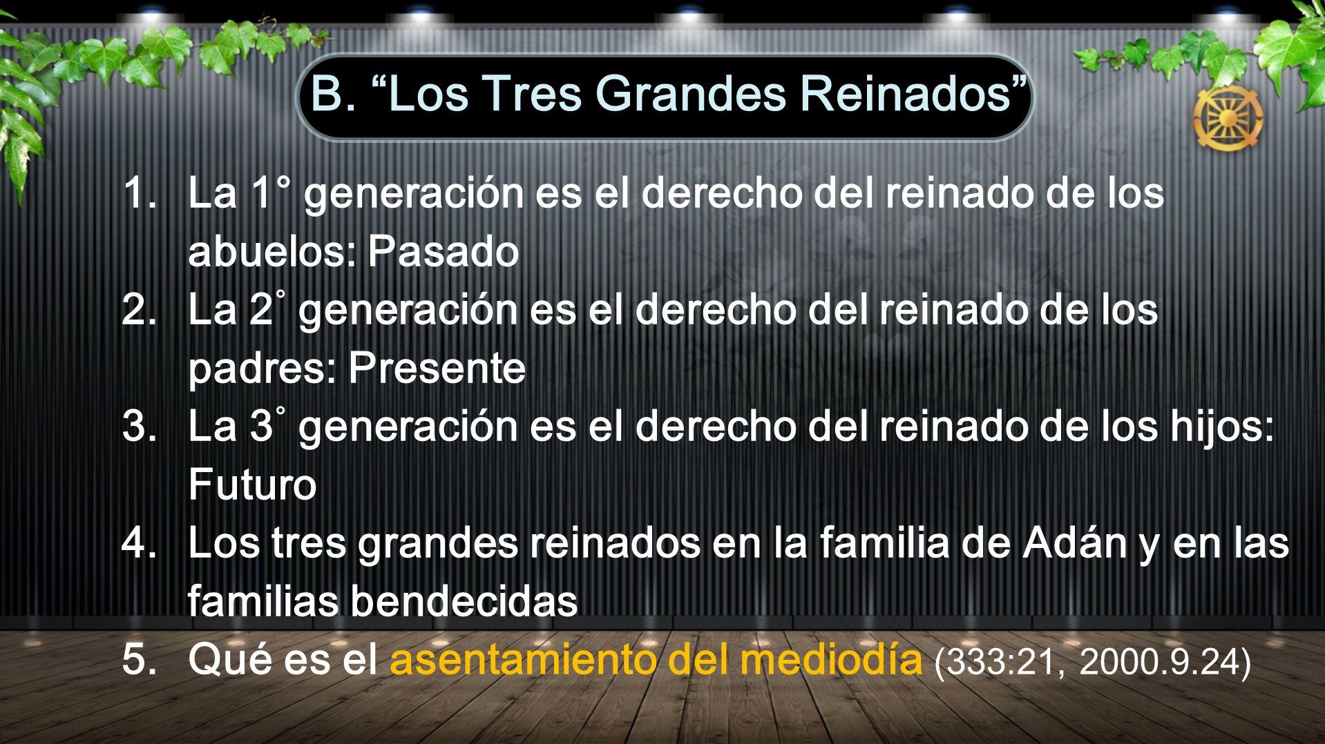 1.La 1 ° generación es el derecho del reinado de los abuelos: Pasado 2.La 2 ° generación es el derecho del reinado de los padres: Presente 3.La 3 ° generación es el derecho del reinado de los hijos: Futuro 4.Los tres grandes reinados en la familia de Adán y en las familias bendecidas 5.Qué es el asentamiento del mediodía (333:21, 2000.9.24) B.