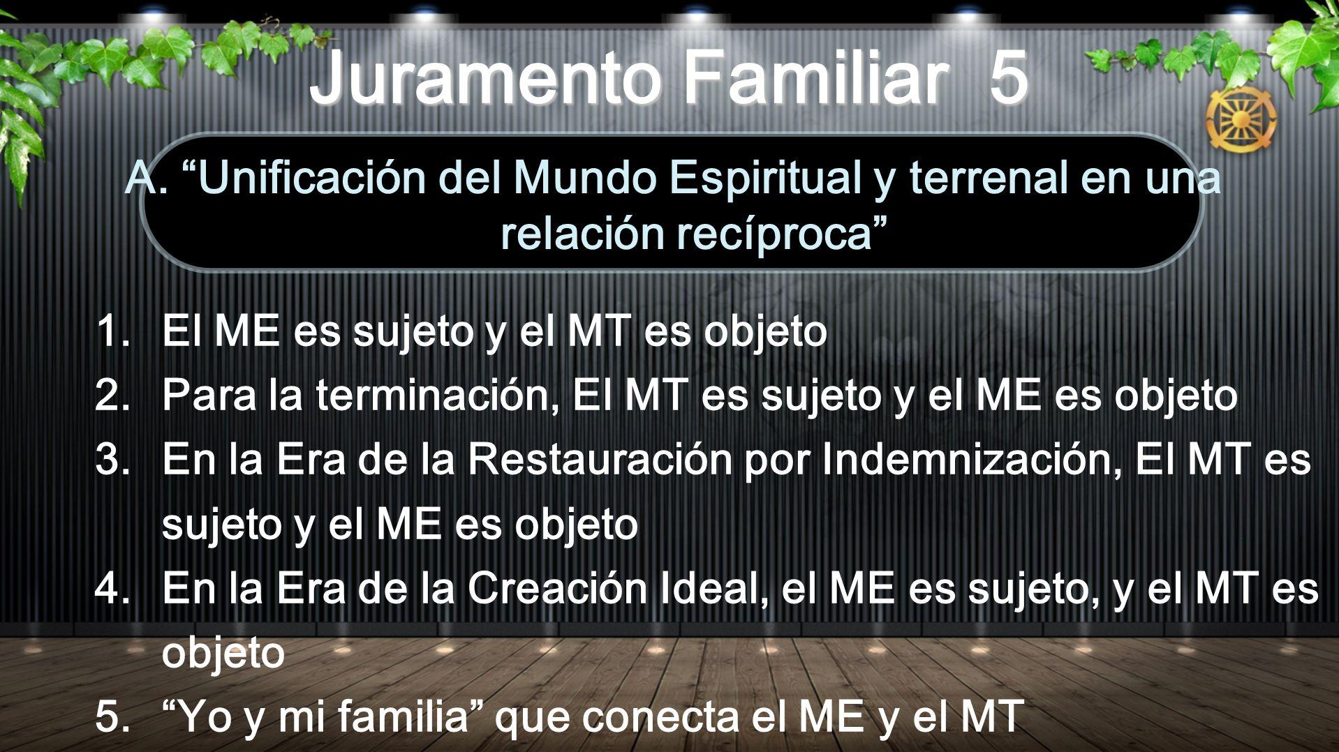 1.El ME es sujeto y el MT es objeto 2.Para la terminación, El MT es sujeto y el ME es objeto 3.En la Era de la Restauración por Indemnización, El MT es sujeto y el ME es objeto 4.En la Era de la Creación Ideal, el ME es sujeto, y el MT es objeto 5.Yo y mi familia que conecta el ME y el MT A.