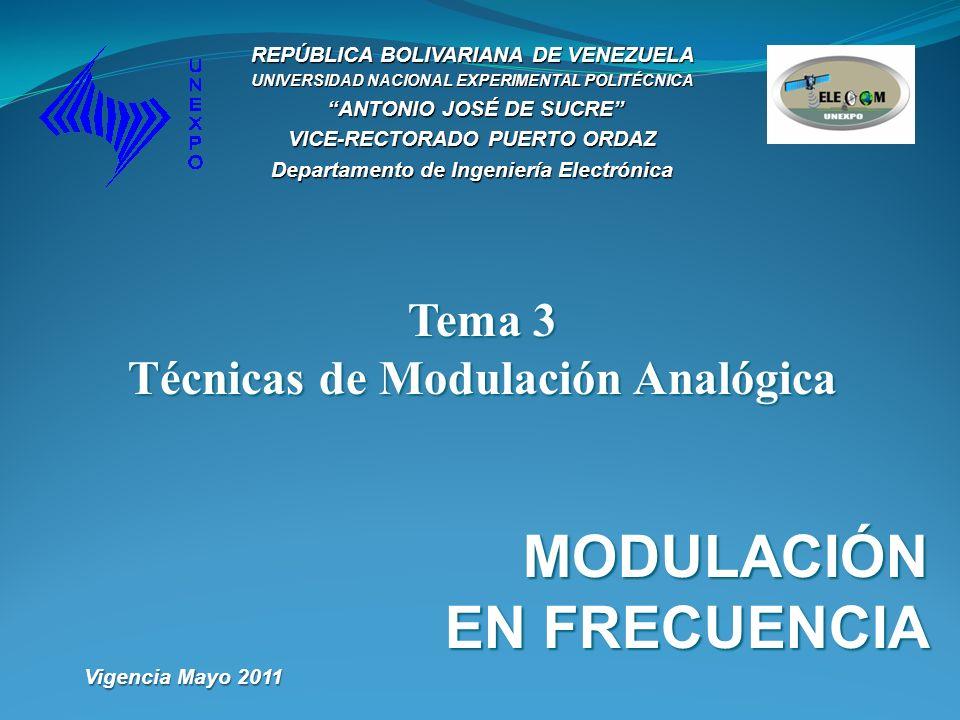Tema 3 Técnicas de Modulación Analógica MODULACIÓN EN FRECUENCIA REPÚBLICA BOLIVARIANA DE VENEZUELA UNIVERSIDAD NACIONAL EXPERIMENTAL POLITÉCNICA ANTO