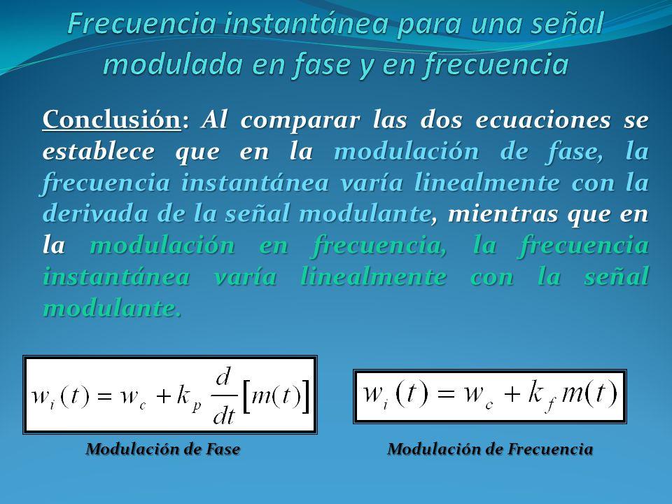 Conclusión: Al comparar las dos ecuaciones se establece que en la modulación de fase, la frecuencia instantánea varía linealmente con la derivada de l
