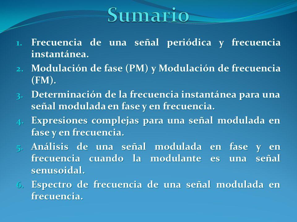 1. Frecuencia de una señal periódica y frecuencia instantánea. 2. Modulación de fase (PM) y Modulación de frecuencia (FM). 3. Determinación de la frec