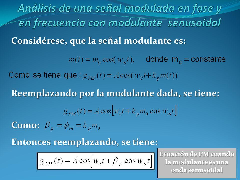 Considérese, que la señal modulante es: Reemplazando por la modulante dada, se tiene: Como: Entonces reemplazando, se tiene: Ecuación de PM cuando la