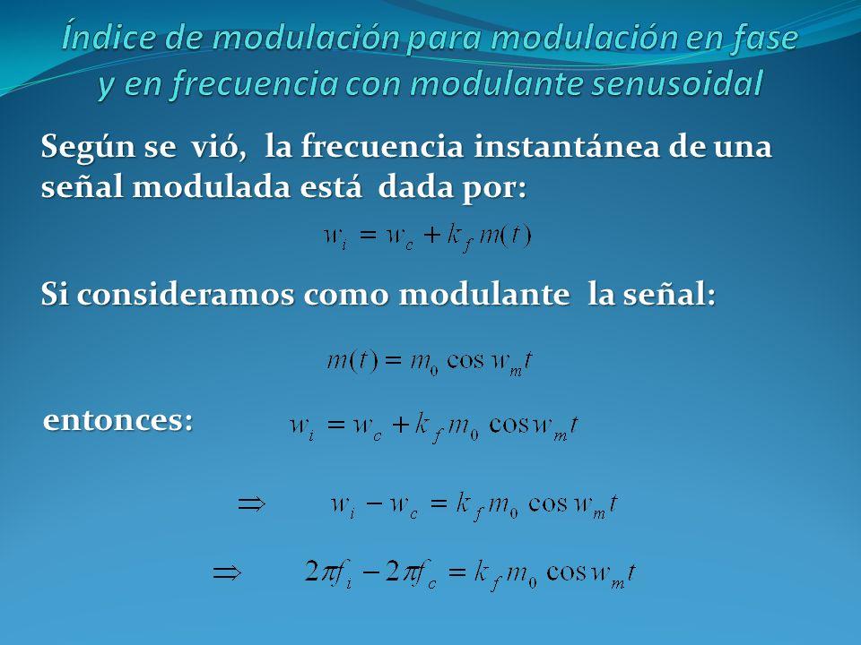 Según se vió, la frecuencia instantánea de una señal modulada está dada por: Si consideramos como modulante la señal: entonces: