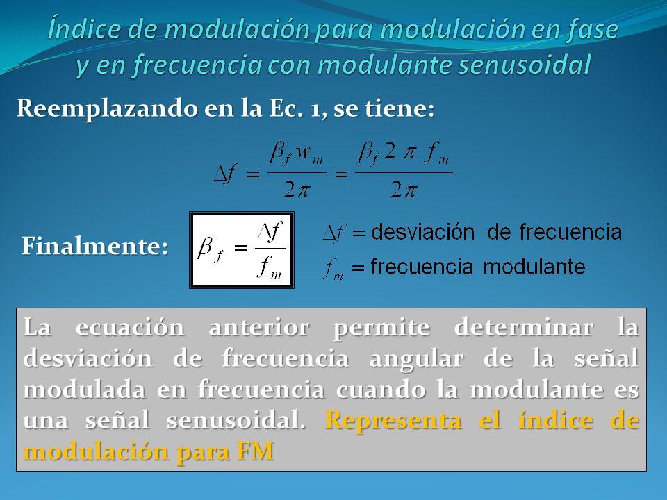 Reemplazando en la Ec. 1, se tiene: La ecuación anterior permite determinar la desviación de frecuencia angular de la señal modulada en frecuencia cua