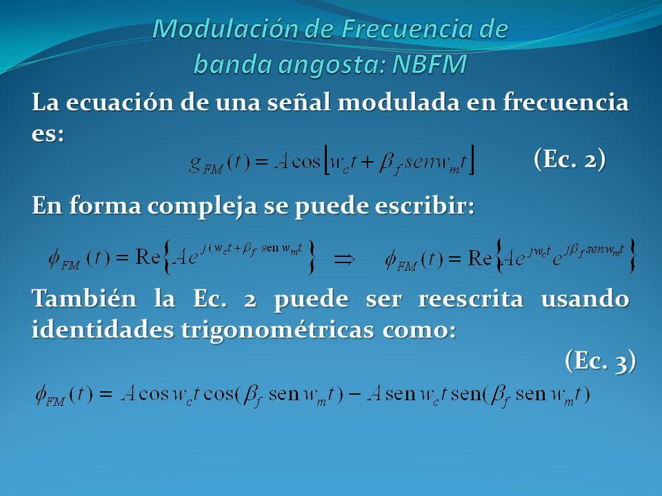 La ecuación de una señal modulada en frecuencia es: En forma compleja se puede escribir: (Ec. 2) También la Ec. 2 puede ser reescrita usando identidad