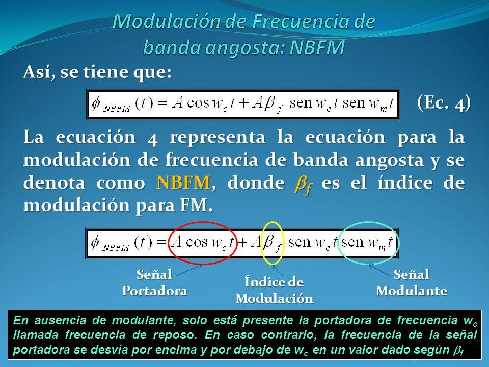 Así, se tiene que: La ecuación 4 representa la ecuación para la modulación de frecuencia de banda angosta y se denota como NBFM, donde f es el índice