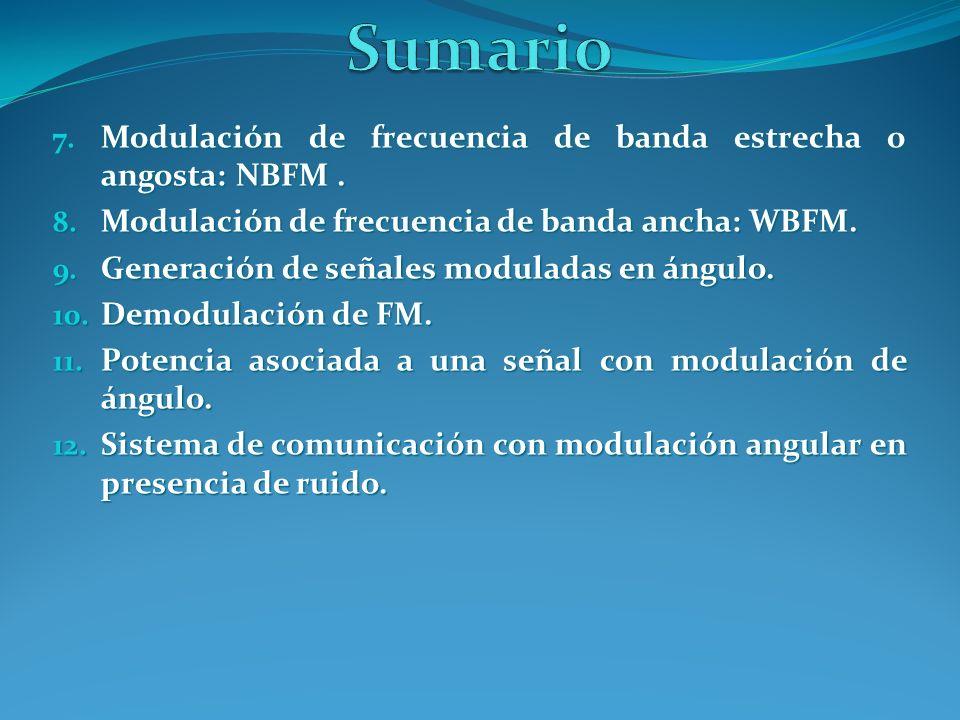 7. Modulación de frecuencia de banda estrecha o angosta: NBFM. 8. Modulación de frecuencia de banda ancha: WBFM. 9. Generación de señales moduladas en