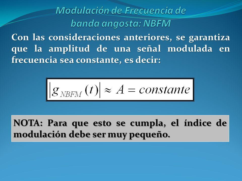 Con las consideraciones anteriores, se garantiza que la amplitud de una señal modulada en frecuencia sea constante, es decir: NOTA: Para que esto se c