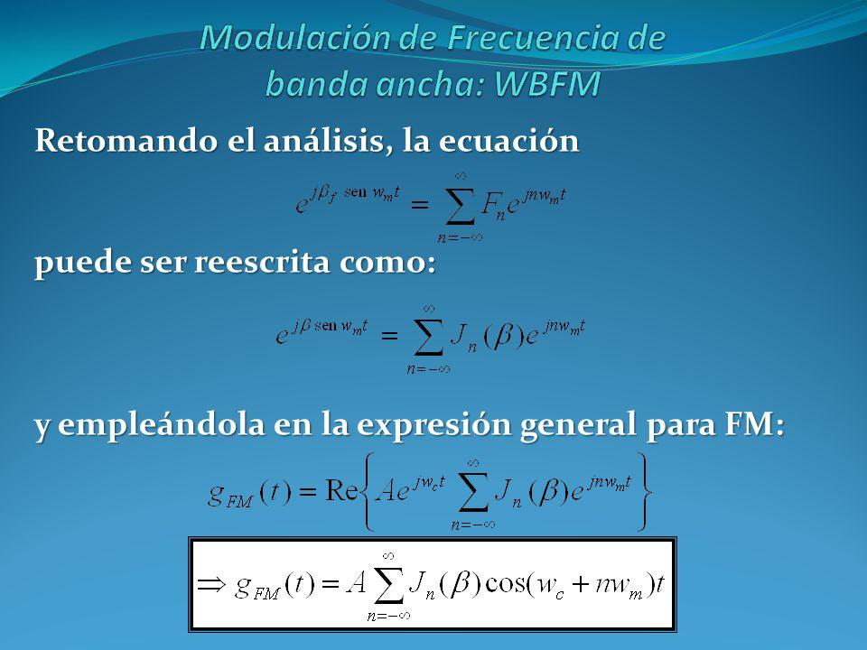Retomando el análisis, la ecuación puede ser reescrita como: y empleándola en la expresión general para FM: