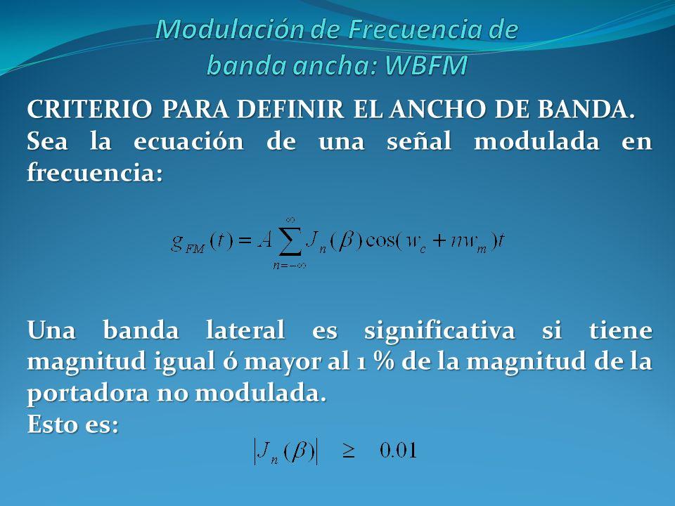 CRITERIO PARA DEFINIR EL ANCHO DE BANDA. Sea la ecuación de una señal modulada en frecuencia: Una banda lateral es significativa si tiene magnitud igu