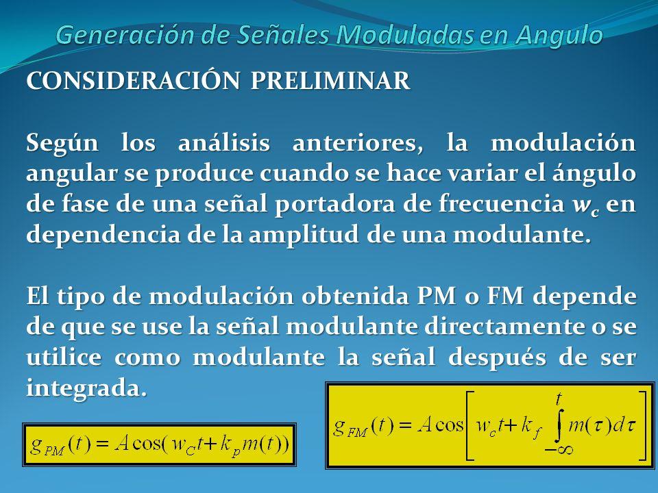CONSIDERACIÓN PRELIMINAR Según los análisis anteriores, la modulación angular se produce cuando se hace variar el ángulo de fase de una señal portador
