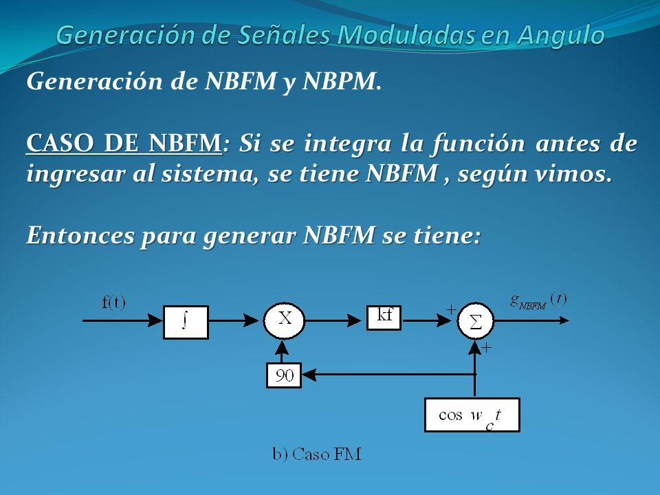 Generación de NBFM y NBPM. CASO DE NBFM: Si se integra la función antes de ingresar al sistema, se tiene NBFM, según vimos. Entonces para generar NBFM
