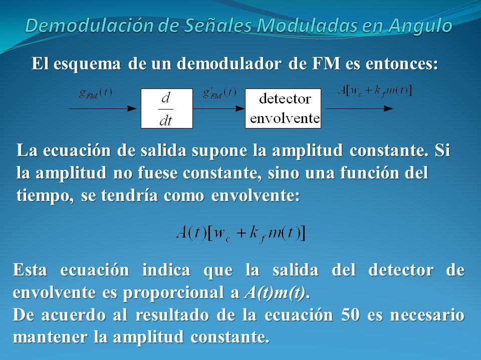 El esquema de un demodulador de FM es entonces: La ecuación de salida supone la amplitud constante. Si la amplitud no fuese constante, sino una funció