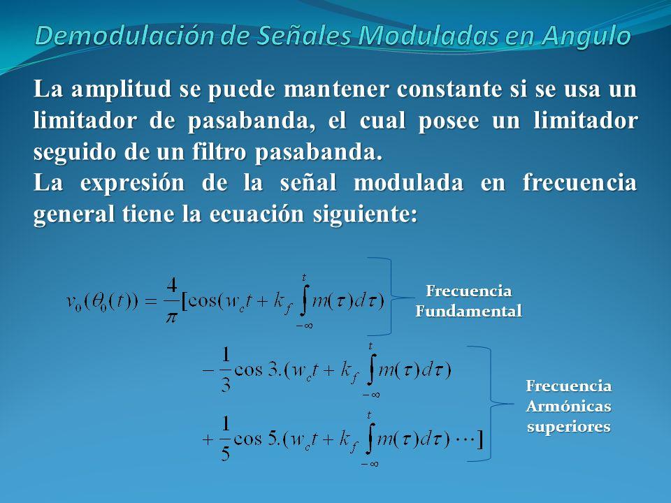 La amplitud se puede mantener constante si se usa un limitador de pasabanda, el cual posee un limitador seguido de un filtro pasabanda. La expresión d