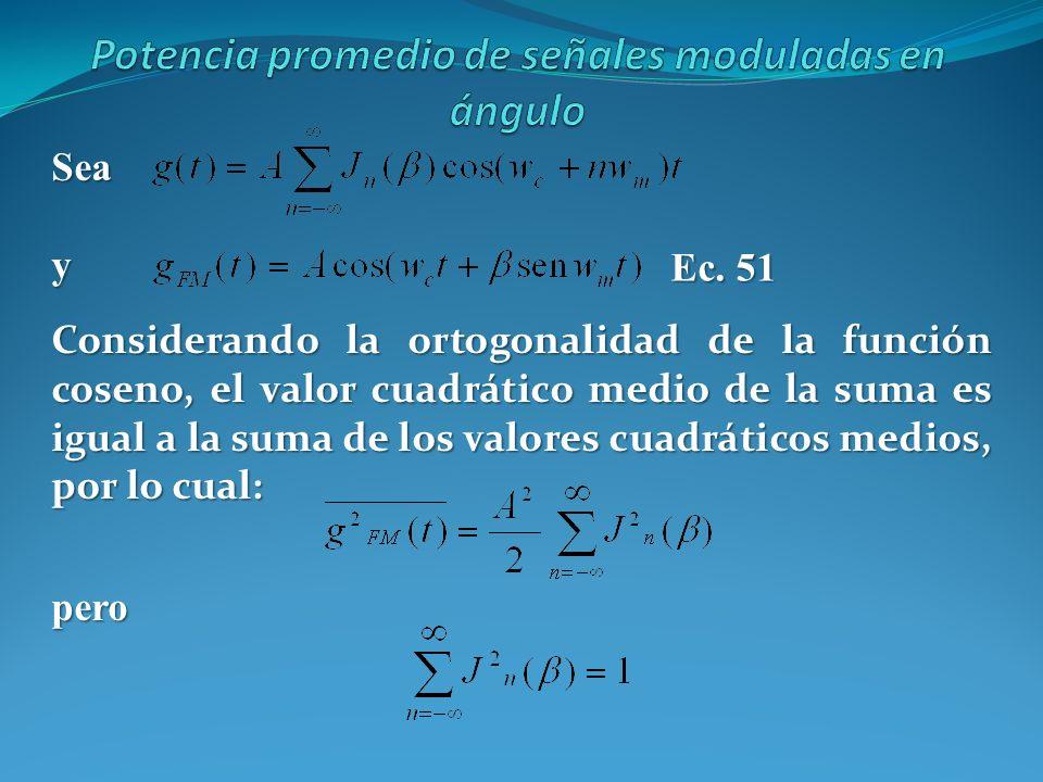 Seay Ec. 51 Considerando la ortogonalidad de la función coseno, el valor cuadrático medio de la suma es igual a la suma de los valores cuadráticos med