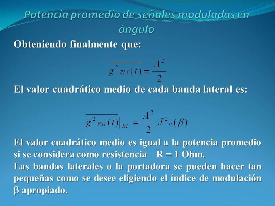 Obteniendo finalmente que: El valor cuadrático medio de cada banda lateral es: El valor cuadrático medio es igual a la potencia promedio si se conside