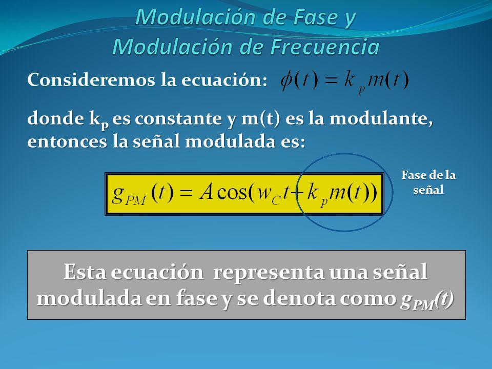 Consideremos la ecuación: donde k p es constante y m(t) es la modulante, entonces la señal modulada es: Esta ecuación representa una señal modulada en
