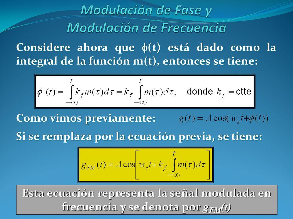 Considere ahora que (t) está dado como la integral de la función m(t), entonces se tiene: Como vimos previamente: Si se remplaza por la ecuación previ