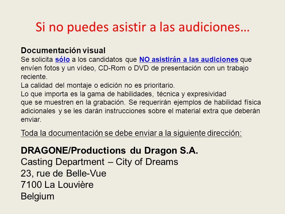 Documentación visual Se solicita sólo a los candidatos que NO asistirán a las audiciones que envíen fotos y un vídeo, CD-Rom o DVD de presentación con un trabajo reciente.