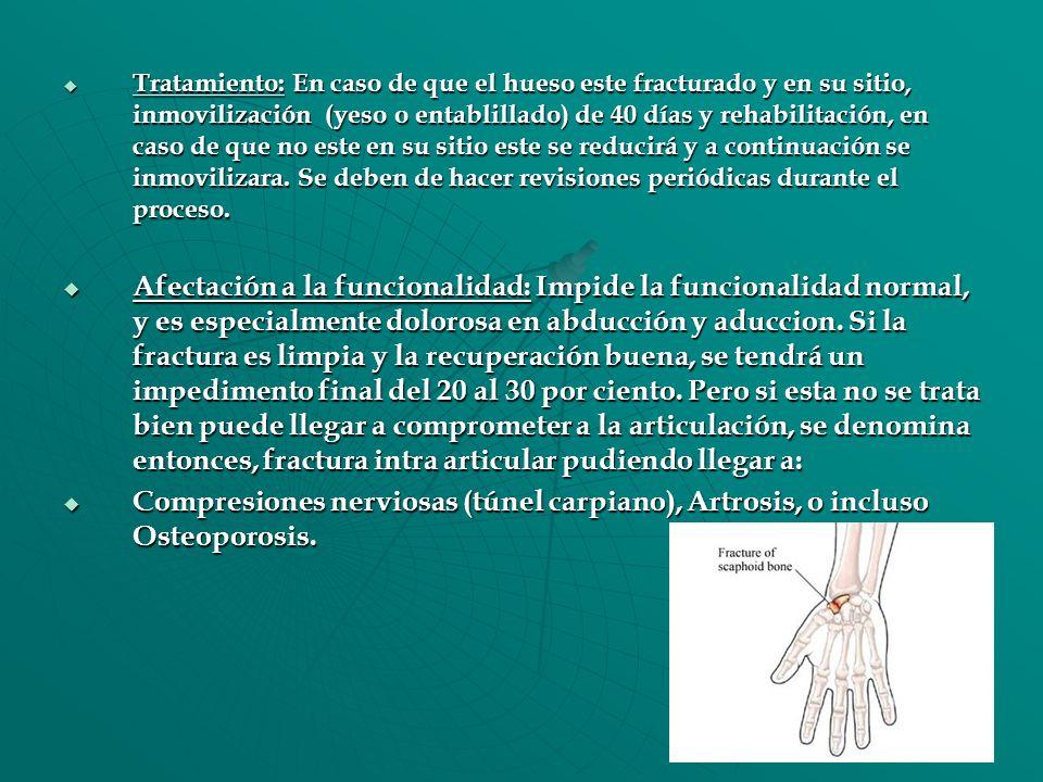 Tratamiento: En caso de que el hueso este fracturado y en su sitio, inmovilización (yeso o entablillado) de 40 días y rehabilitación, en caso de que n