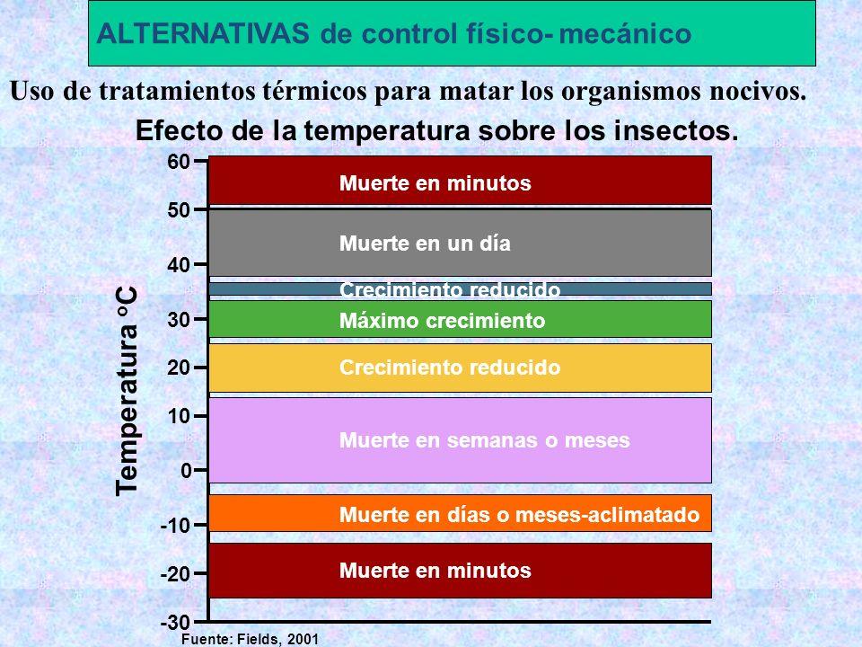 Uso de tratamientos térmicos para matar los organismos nocivos. ALTERNATIVAS de control físico- mecánico -30 -20 -10 0 10 20 30 40 50 60 Temperatura o