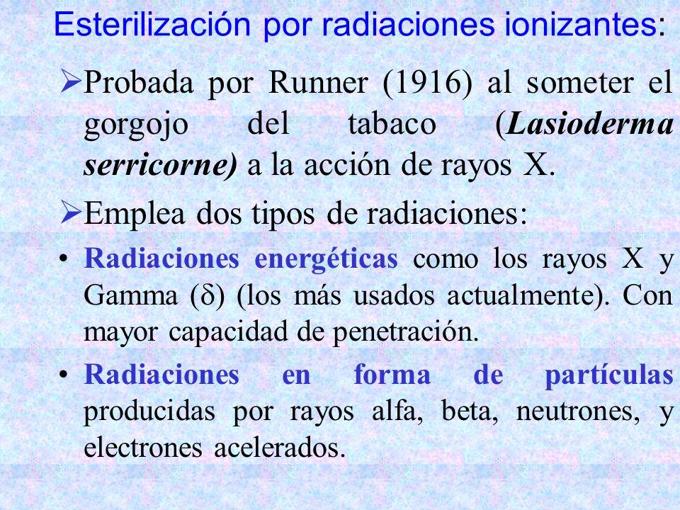 Esterilización por radiaciones ionizantes: Probada por Runner (1916) al someter el gorgojo del tabaco (Lasioderma serricorne) a la acción de rayos X.