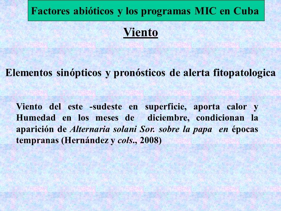 Viento Elementos sinópticos y pronósticos de alerta fitopatologica Factores abióticos y los programas MIC en Cuba Viento del este -sudeste en superfic