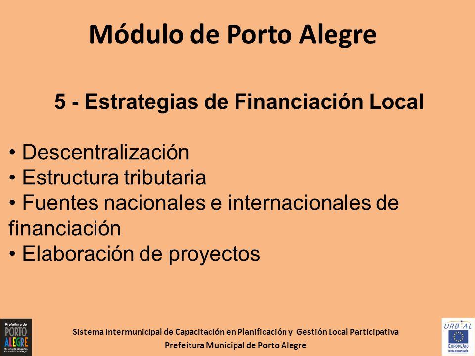 Sistema Intermunicipal de Capacitación en Planificación y Gestión Local Participativa Prefeitura Municipal de Porto Alegre Módulo de Porto Alegre 5 -