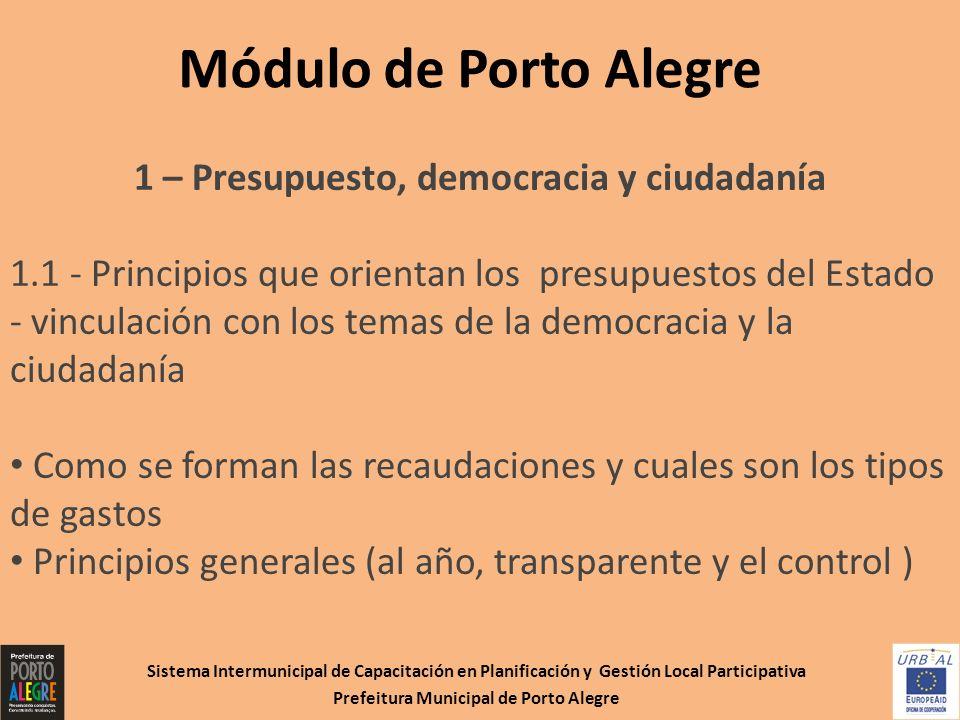Sistema Intermunicipal de Capacitación en Planificación y Gestión Local Participativa Prefeitura Municipal de Porto Alegre Módulo de Porto Alegre 1 –