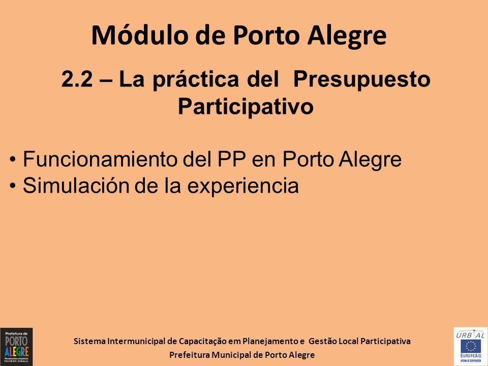 Sistema Intermunicipal de Capacitação em Planejamento e Gestão Local Participativa Prefeitura Municipal de Porto Alegre Módulo de Porto Alegre 2.2 – L